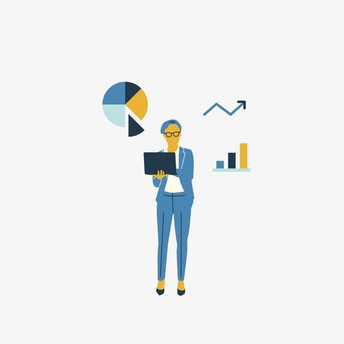 Donna di affari illustrata con il grafico di analisi dei dati