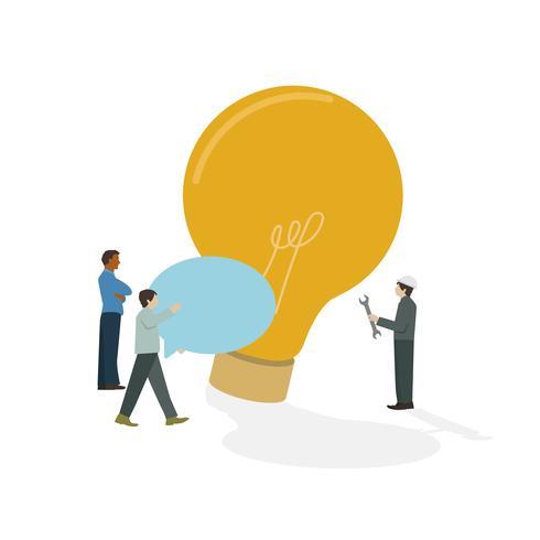 Icono ilustrado de la bombilla de la reunión de reflexión de los empresarios