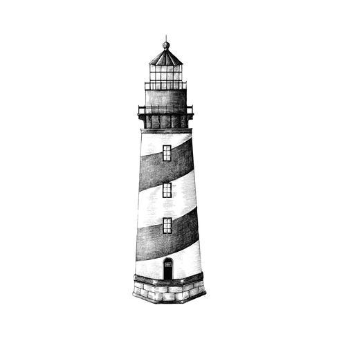 Faro disegnato a mano isolato su sfondo bianco