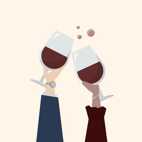 Illustration av människor som dricker vin