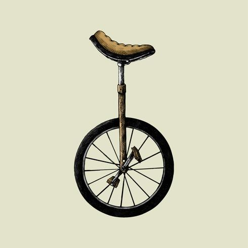 Hand drawn sketch of old fashioned unicycle