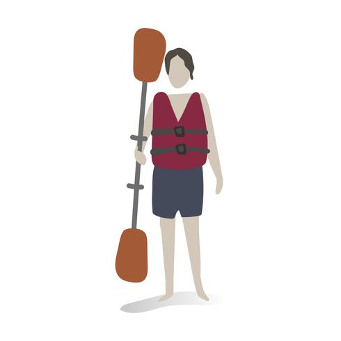 Character illustration of a guy holding a paddle