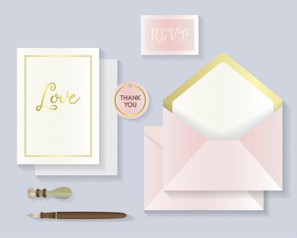 Invitation cards and envelopes set illustration