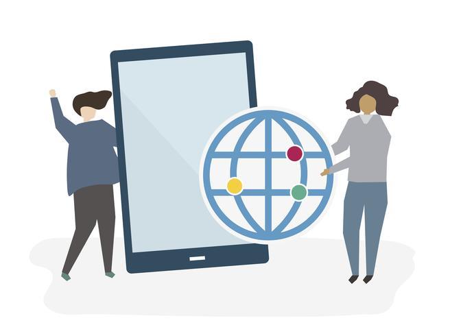 Människor med en digital tablett vektor