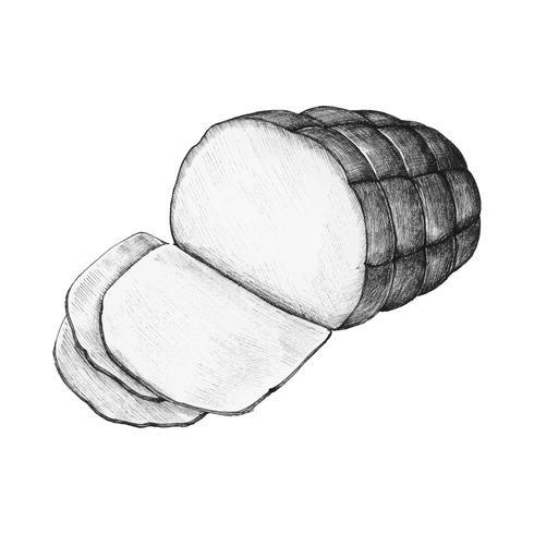 Dibujado a mano jamón entero