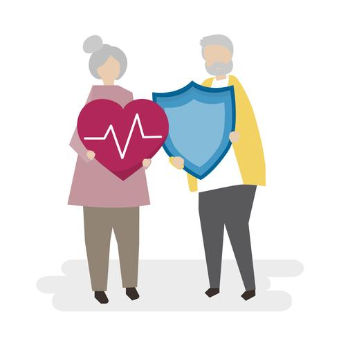 Illustration of seniors with insurance