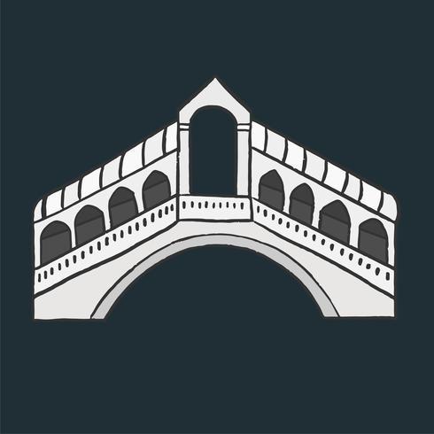 Puente de Rialto en Italia ilustración gráfica