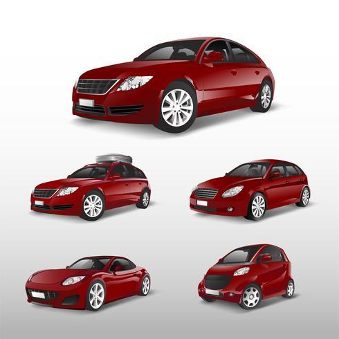 Ensemble de divers modèles de vecteurs de voiture rouge