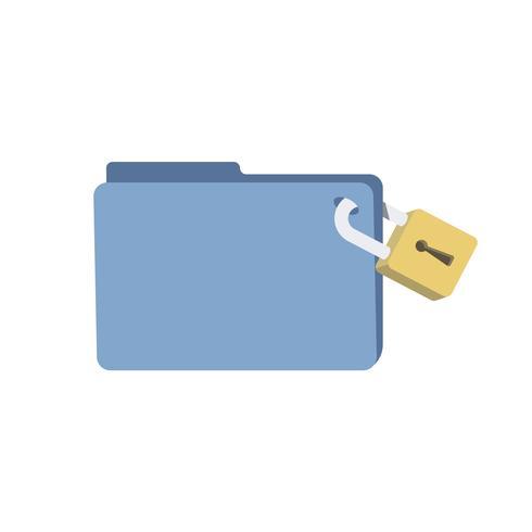 Dossier de base de données avec illustration de verrou de sécurité