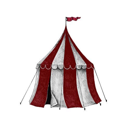 Handritad skiss av ett cirkustält