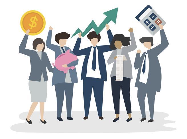 Pessoas de negócios corporativos ilustrados