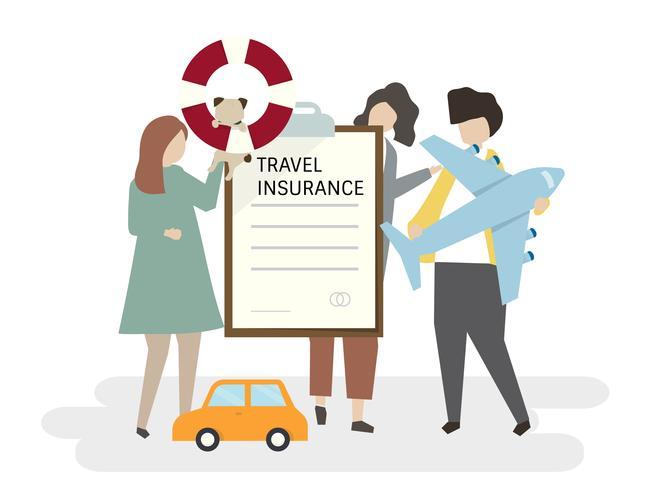 Ilustración de personas con seguro de viaje.