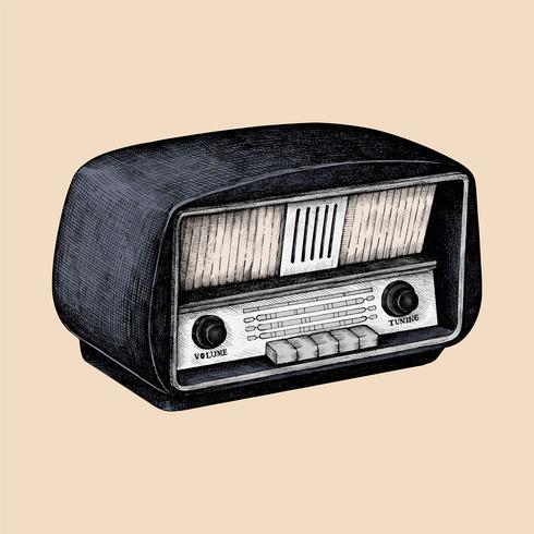 Hand drawn sketch of a radio