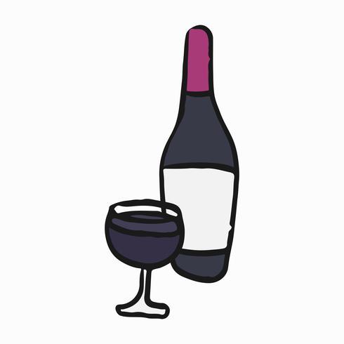 Un bicchiere di vino rosso francese illustrazione
