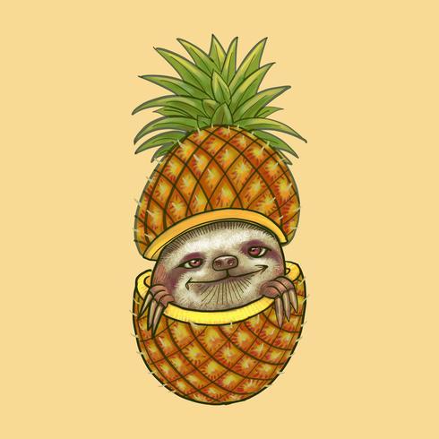 Cute sloth peeking through a pineapple illustration