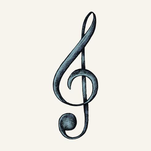Illustrazione disegnata a mano della nota di musica della G-chiave