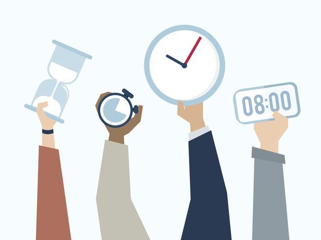 Ilustración de manos con gestión del tiempo.