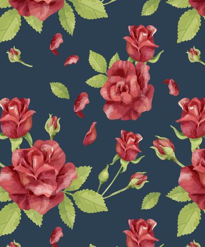 Dibujado a mano patrón de flor rosa