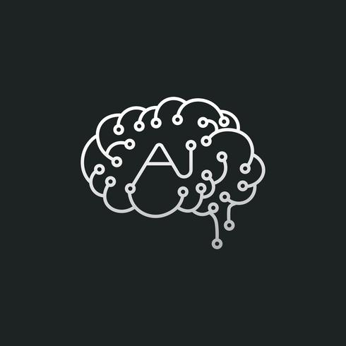 Artificial intelligence brain icon illustration
