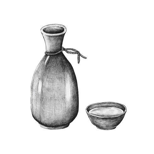 Hand drawn mirin Japanese rice wine