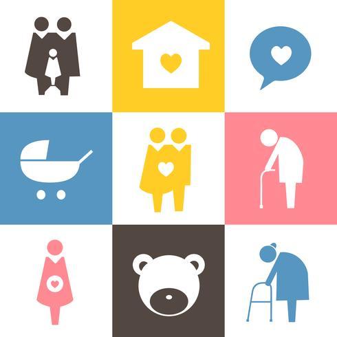 Colección de iconos de la familia pictograma ilustración