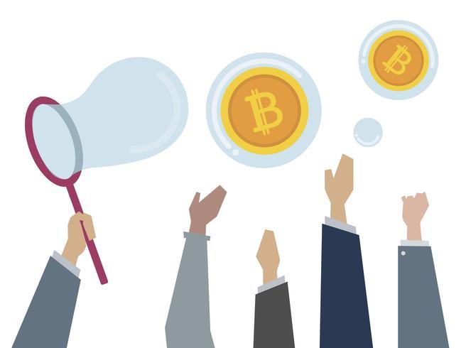 Illustration av människor som fångar bitcoins