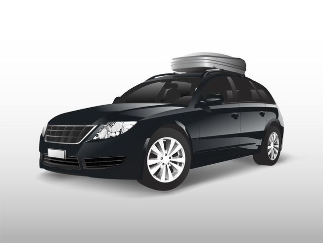 Zwarte SUV met een opbergdoos op het dak