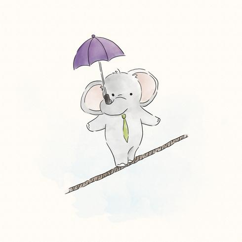 Éléphant en équilibre sur une corde