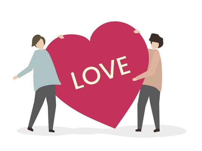 Par romântico, em, amor, ilustração