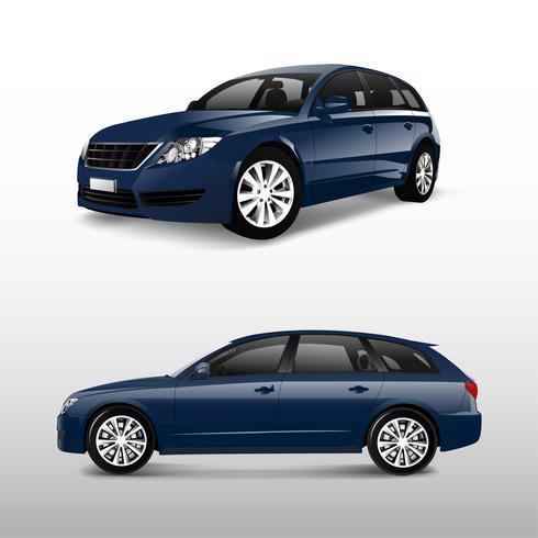 Fram och sidovy av en blå minivan
