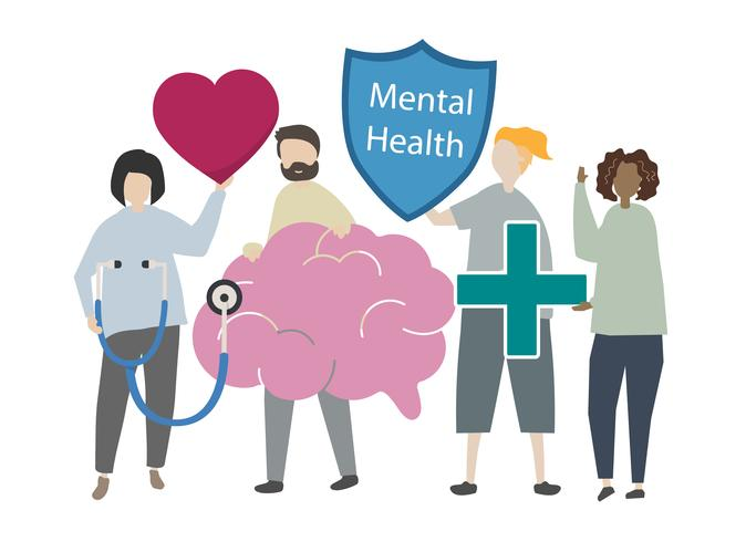 Personas con la ilustración del concepto de salud mental