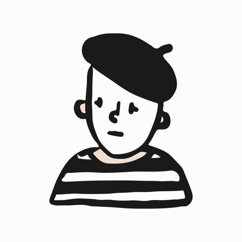 Illustrazione triste di doodle del mimo francese
