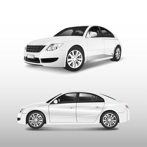 White sedan car isolated on white vector
