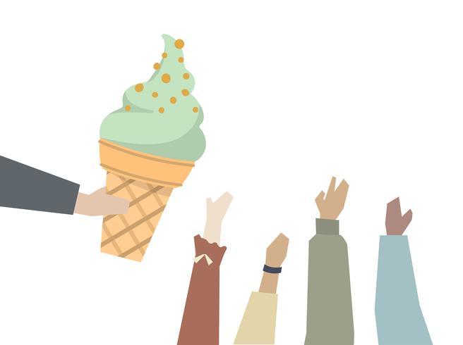 Ragazzi che vogliono un gelato