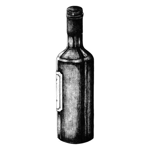 Hand drawn wine bottle isolated