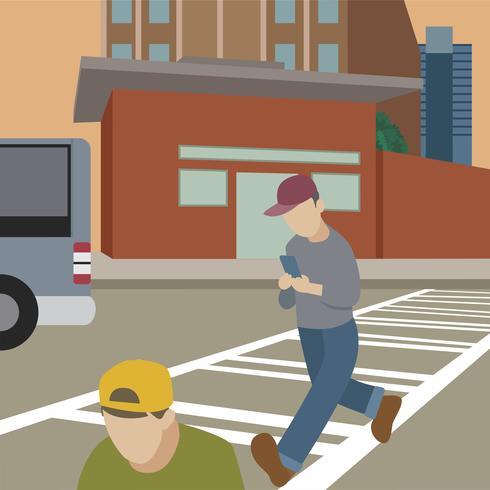 Uomo che cammina mentre sull'illustrazione del telefono