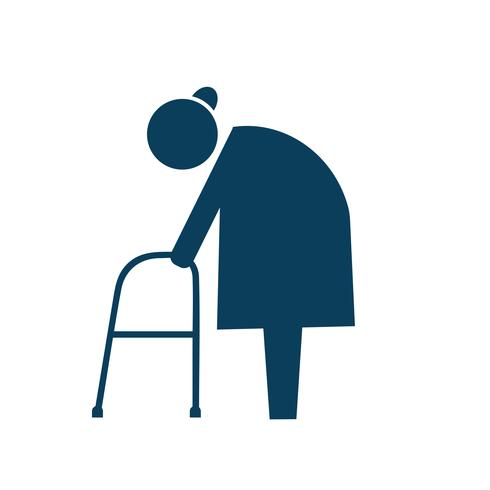 Elderly with walker icon pictogram illustration