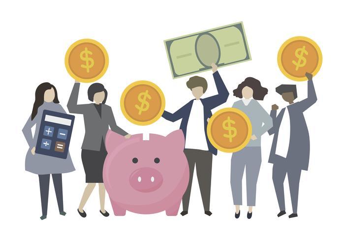 Gente di affari di attività bancarie e concetto di risparmio
