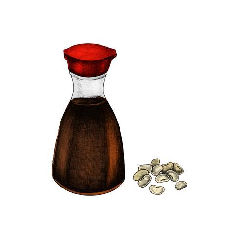 Ilustração de soja e molho
