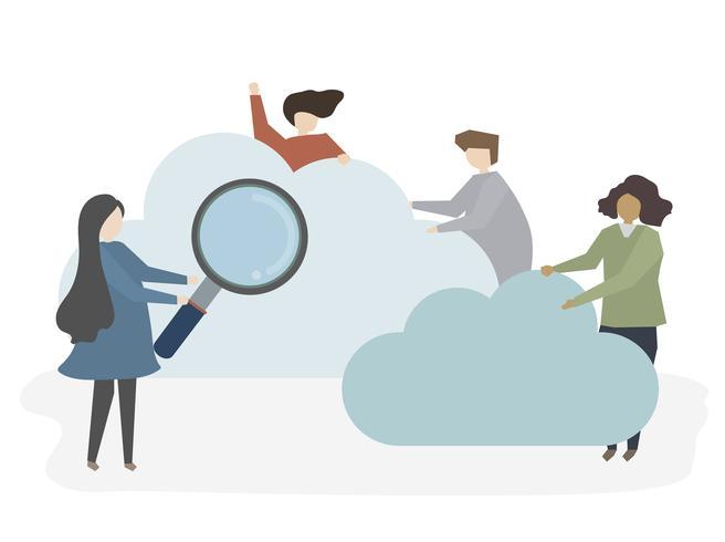 Illustration von Leuten, die suchen und grasen