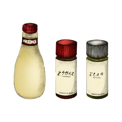 Illustrazione di ingredienti giapponesi