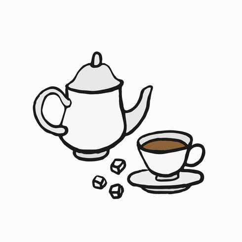 Ilustración de la cultura del té al estilo británico