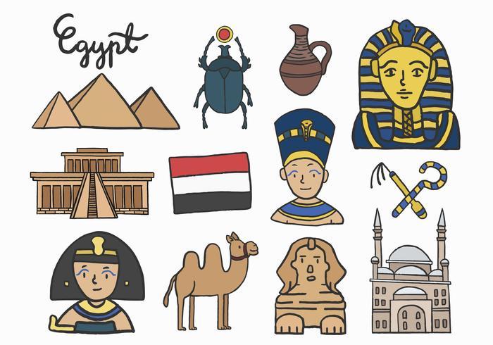 Set av antika egyptiska symboler
