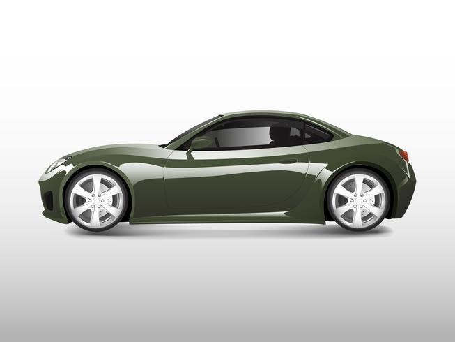 Coche deportivo verde aislado en vector blanco