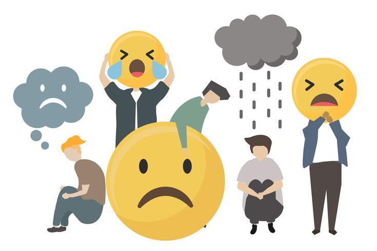 Mensen met trieste emotie emoticon pictogram illustratie