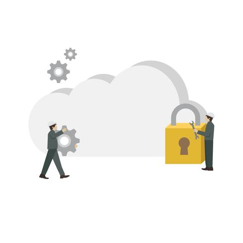 Illustrated cloud network storage setting
