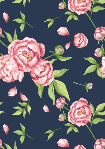 Padrão de peônia rosa desenhada de mão
