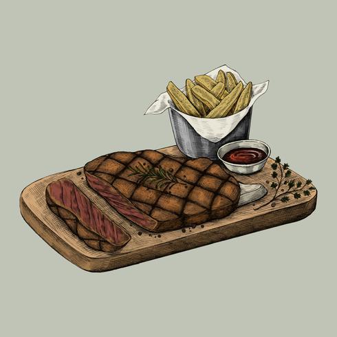 Illustratie van een biefstukdiner