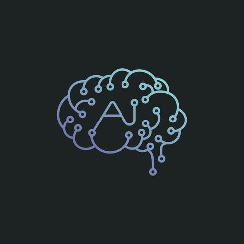 Intelligence artificielle cerveau icône illustration