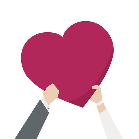 Ilustración de una pareja sosteniendo un corazón